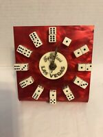 Vintage Las Vegas DICE CLOCK Red Lucite - Battery - Works