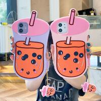 3D Cute Bubble Milk Tea Drink Rubber Case cover for iPhone 11 Pro Max XS XR 7 8+