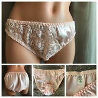 PRISTINE Vtg Panties Pink Satin & Sheer Floral Lace Bikini Hi-Cut Panty Briefs M