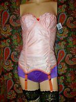 NWT Vintage Goddess Orange Long Line Padded Garter Corset Bustier 34C ($139)