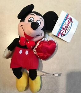 "Mickey Mouse Valentine Beanie Plush Satin Red Heart Vintage Disney Store 8"""