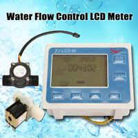 1/2'' Water Flow Rate Gauge Control LCD Meter + Flow Sensor + Solenoid Valve