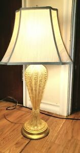Murano Table Lamp Vintage Gold Aventurine With Bubbles GORGEOUS!