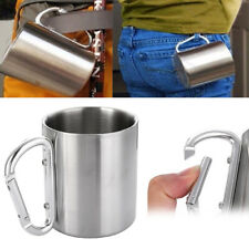 1pcs Stainless Steel Camping Mug Sports Cup Carabiner Hook Portable Outdoor