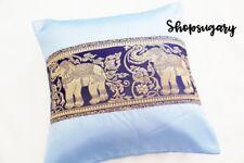 Thai Seide Kissenbezug Kissenhülle 40x40 cm Elefant  pillow case Blau Dekor