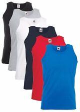 5 Pack MENS VEST Fruit of the Loom Athletic Tank Top 100% COTTON Plain Vest Bulk