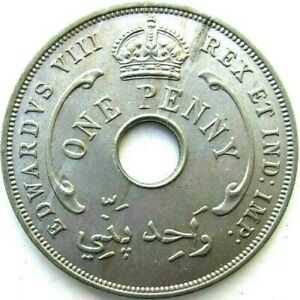 BRITISH WEST AFRICA COINS, ONE PENNY 1936, EDWARD VIII