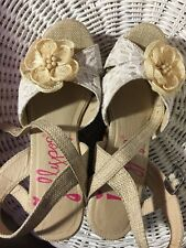 "Sandals, JELLYPOP, lace, canvas, beaded flower, 4"" cork wedge, SZ: 6 1/2M"