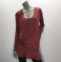 White House Black Market Small Mauve Draped Ruched Crossover Top Shirt Tunic New