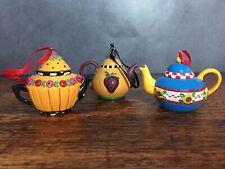 3 Mini Teapot Ornaments Mary Engelbreit Debbie Mumm Apples Sunflower Strawberry