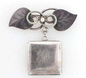 Vintage Georg Jensen Sterling Silver Hand Wrought Leaf Dangle Locket Brooch Pin