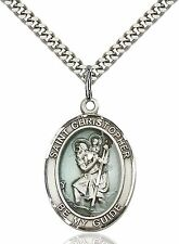 925 Sterling Silver Saint St. Christopher Medal Pendant On 24'' Chain Necklace
