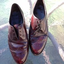 FLORSHEIM Mens Oxford Dress Shoe Burgundy Leather Wing-Tip Full 10 3E Wide