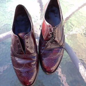 FLORSHEIM Mens Oxford Dress Shoe Burgundy Leather Wing-Tip Full 10 3E Wide