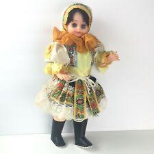 "Czech Republic Doll 18"" Lidova Tvorba Traditional Dress Souvenir 70s Vtg Plastic"