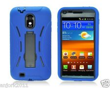 Sprint Samsung Galaxy S II 2 D710 R760 Hybrid Case Skin Cover w/Stand Blue Black