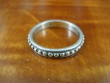 Silver 925 Ring Size 7 One Line Bead Band Sterling