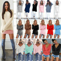 Women Long Sleeve V Neck Loose Knitted Sweater Pullover Ladies Casual Jumper Top