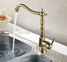 Luxury Gold Color Brass Swivel Kitchen Sink Faucet Mixer Basin Tap Ugf031