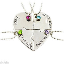 4Pcs/Set Women Necklace BEST FRIENDS FOREVER Puzzle Heart Chain Pendant Jewelrys