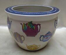 Decorative Vintage Estate Found Porcelain Planter w. Painted Tea Pot Designs