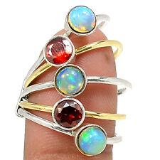 Two Tone - Ethiopian Opal 925 Silver Ring Jewelry s.7.5 SR213264