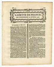 1766, April 18, Original French Gazette # 31 with news from Canada and Florida