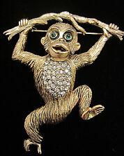 """Rare Vtg 3"""" Signed Hattie Carnegie Goldtone Jeweled Monkey Figural Brooch A19"""
