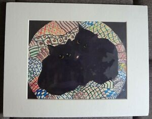 Black Kittens with Pillow- Original Batik Painting by Alice A. Craig