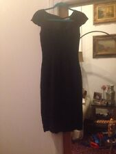 Blumarine Dress Black Linen With Scalloped Trim 38