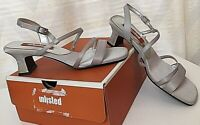 New Women's 7.5 UNLISTED Strappy Sandals Silver Satin Low Kitten Heels Shoes NIB
