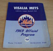 """1969 'Official Program' CALIFORNIA BASEBALL League~""""VISALIA METS""""~"""