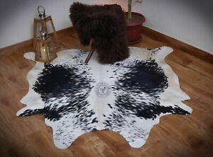 Cowhide Rug Black White 5x5ft Salt Pepper cow print skin animal hide Leather rug