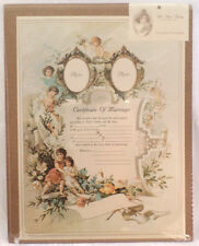 Turn Of The Century Wedding Certificate Marriage Old Print Factory #Crt004