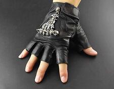New Punk Rock Skull Skeleton Biker Motorcycle Leather Gloves