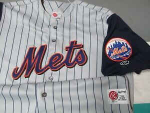 Authentic New York Mets Rawlings Button Down Jersey Men's Sz 46 MINT Gray
