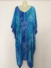 FREE SIZE TO PLUS SIZE 30 Kaftan Dress Sequinned Embroidered blue, purple blue