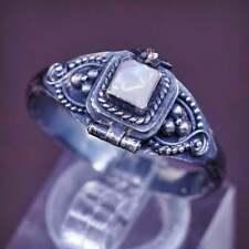 sz 11, VTG sterling silver handmade ring, 925 prayer locket w/ moonstone