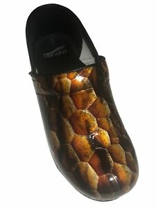 Dansko Women's Brown Snake Print Patent Leather Closed Clogs - Size 38/EU 7.5/US