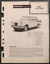 RILEY 4 / SIXTY EIGHT GIRLING 1959 Brakes Installation Maintenance Data Guide