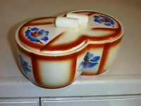 Art Deco Keramik Deckeldose mit Spritzdekor ANNABURG Design Keksdose