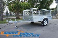 7x5 GALVANISED HEAVY DUTY BOX TRAILER WITH 600mm CAGE & BRAKE ATM1400KG