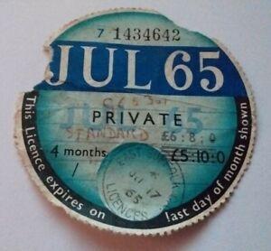 Vintage Road Tax Disc July 1965 For Standard Car