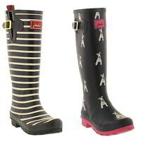 Joules Welly Print Wellies Womens Blue Tall Wellington Boots