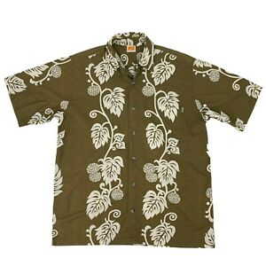 Sideout Hawaiian Shirt Men's Size M Brown/White Button Up Floral Island Leaves