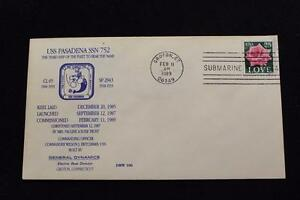DRW NAVAL COVER #106B COMMISSIONING USS PASADENA (SSN-752) 1989 MACHINE CANCEL
