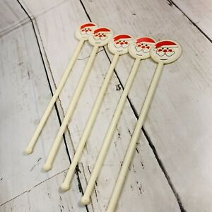 VINTAGE AMSCAN CHRISTMAS SANTA STIR STICKS lot of 10