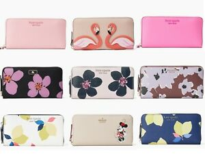 Kate Spade Cameron Neda Zip Around Continental Wallet Floral Glitter