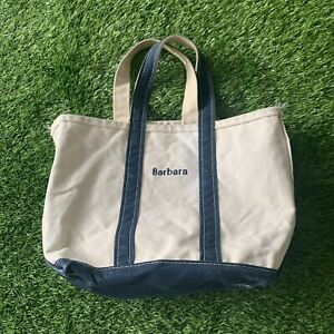 Vintage LL Bean Boat and Tote Canvas Bag 80s White and Navy Blue