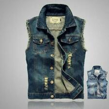 Mens Sleeveless Jacket Vest Waistcoat Fastener Distress Denim Weskit Plus Size